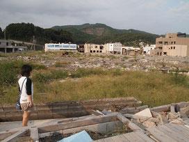 震災後の女川町。家もビルも、何もかも流された